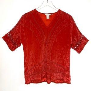SUNDANCE Red Boho Short Sleeve Top Satin Soft S